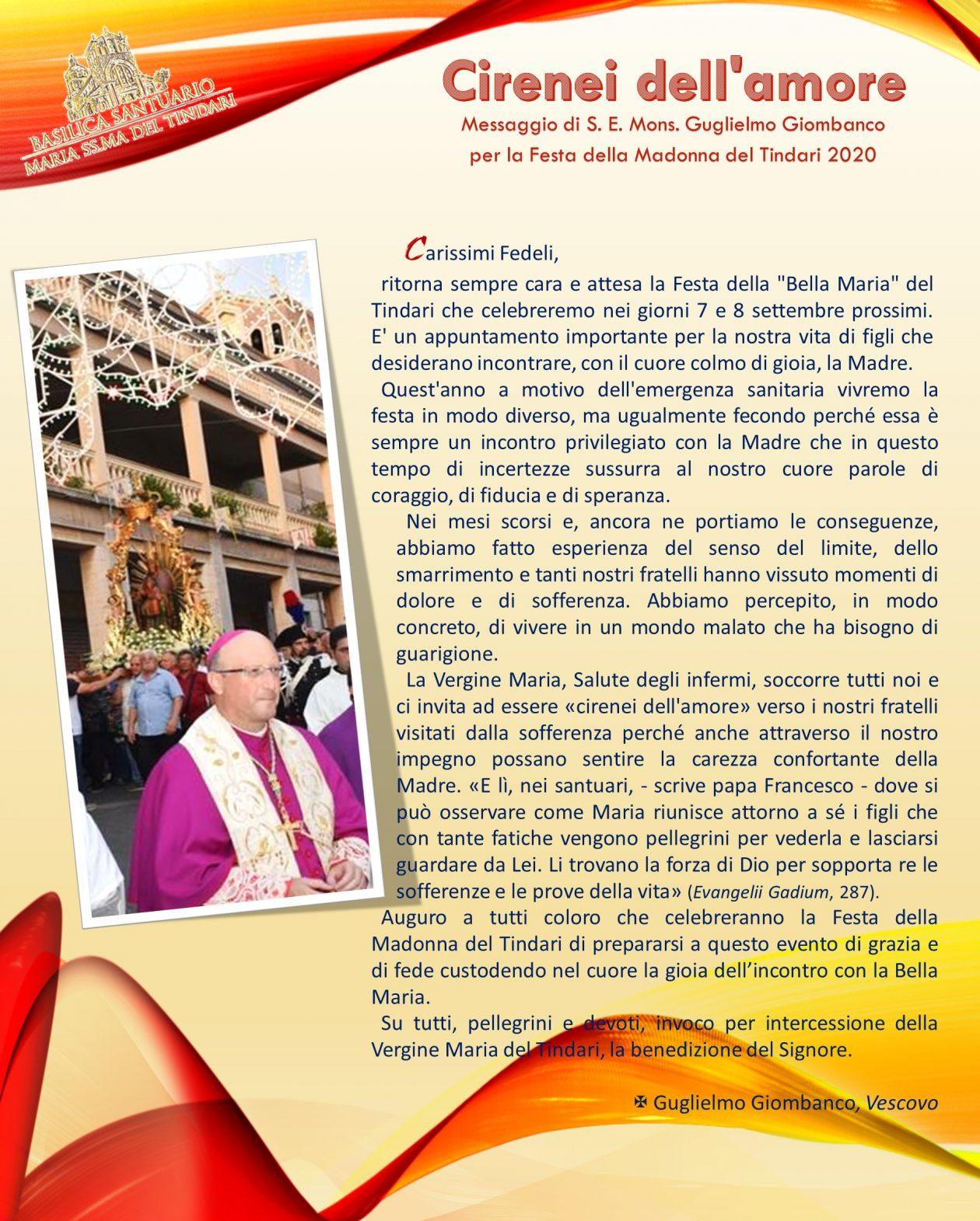 Patti: Messaggio del Vescovo in occasione della festa della Madonna del Tindari